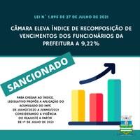 Câmara eleva índice de recomposição de funcionários municipais a 9,22%