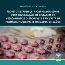 Divulgação da lista de medicamentos na farmácia municipal poderá ser obrigatória