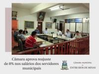 Câmara aprova reajuste de 8% nos salários dos servidores municipais proposto pelo Executivo