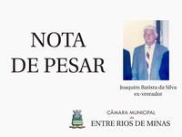 Nota de pesar - Joaquim Batista da Silva, ex-vereador