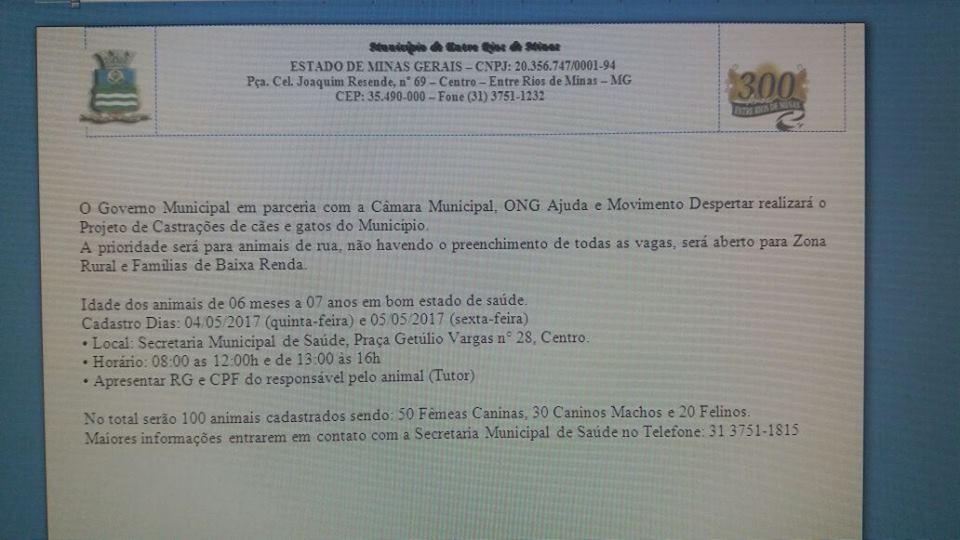 União de forças garantirá castração de cães e gatos em Entre Rios